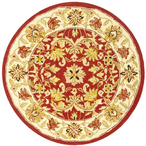 Astoria Grand Weaver Hand-Hooked Wool Red/Ivory Area Rug