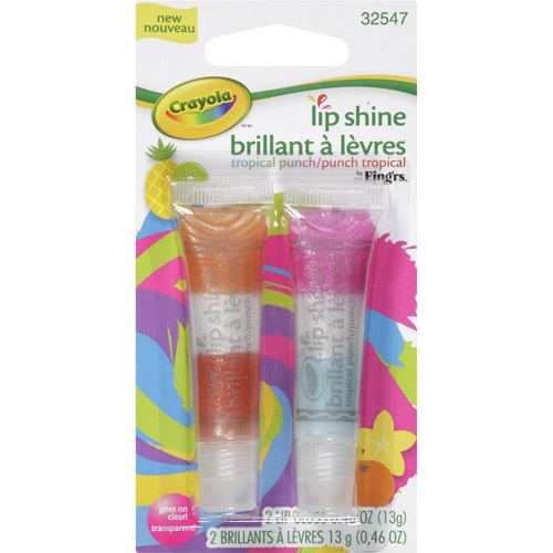 Fing'rs Crayola Lip Shine Lip Gloss, Tropical Punch/Punch Tropical, 2pk