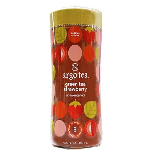 (4 Cans) Argo Tea Green Tea Strawberry Unsweetened, 13.5 OZ