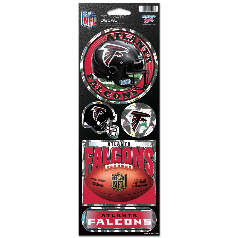 Atlanta Falcons Official NFL 4 inch x 10 inch  Prismatic Car Decal Set by Wincraft