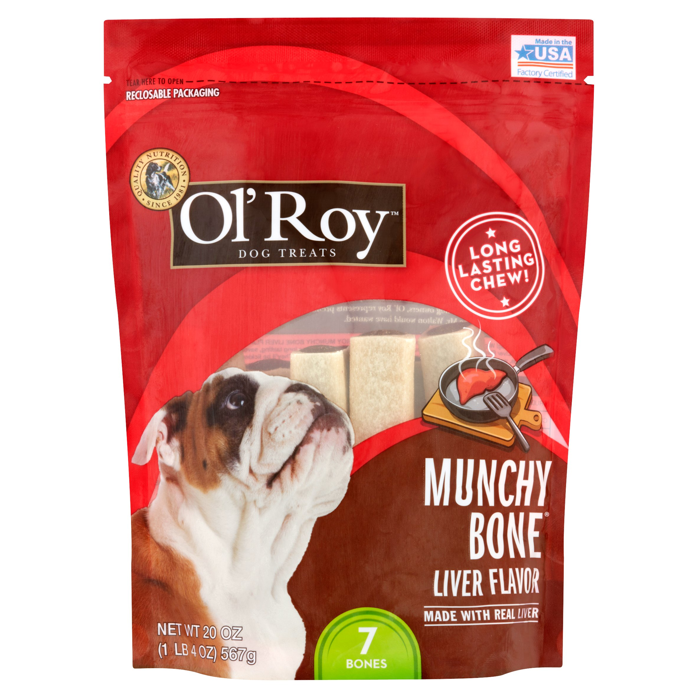 Ol' Roy Munchy Bone Liver Flavor Chews Dog Treats, 7 Ct