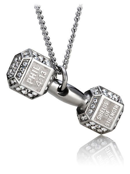 Phil 4:13 Shields of Strength Men/'s Stainless Steel Dumbbell Necklace