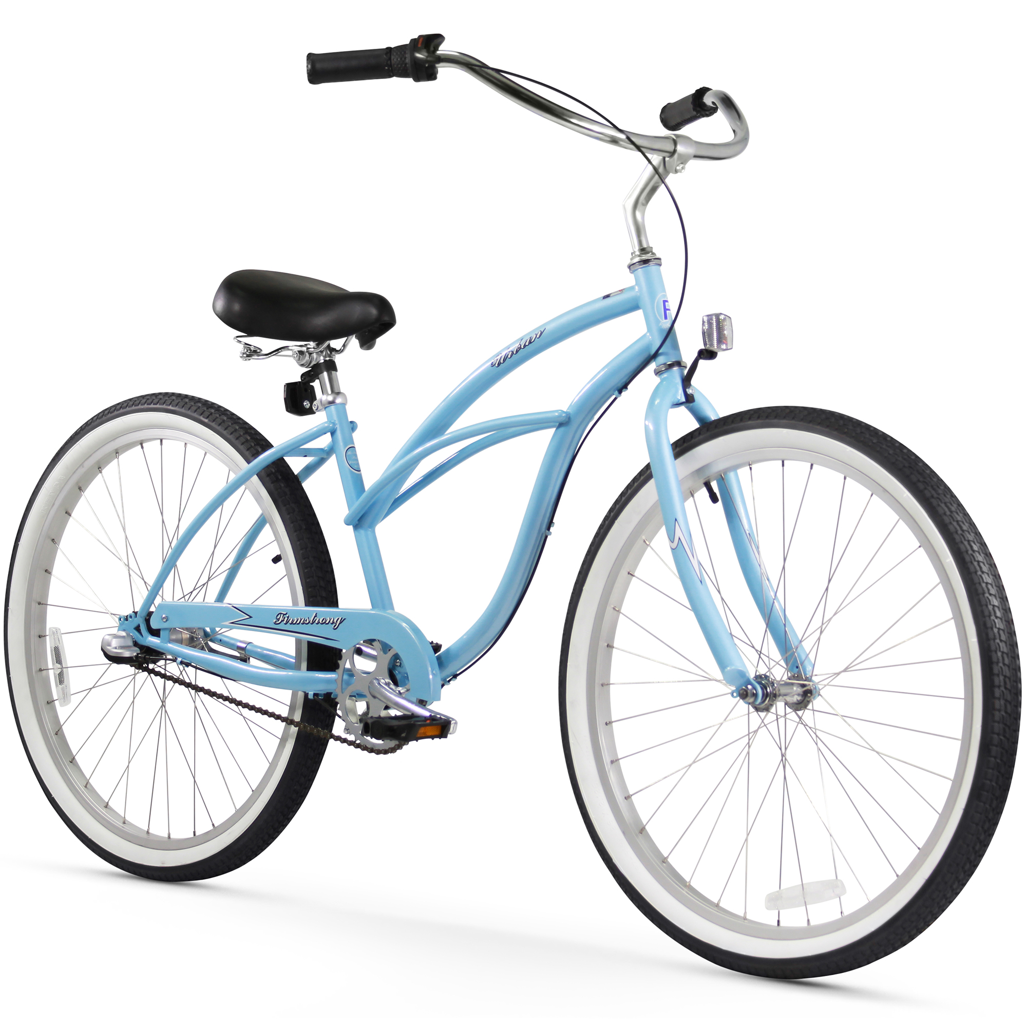 "24"" Firmstrong Urban Lady Three Speed Women's Beach Cruiser Bike, Baby Blue"