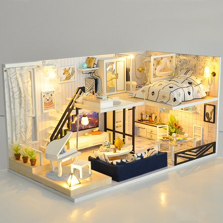 Christmas Dollhouse Decorations.Christmas Gift Doll House Miniature Diy Handcraft Kit 3d Wooden Dollhouse With Furniture Led Light House Room Model Doll Play Set Kids Children