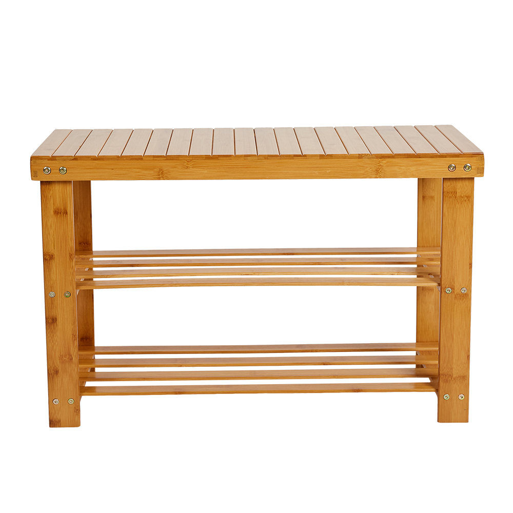 KARMAS PRODUCT Bamboo Shoes Storage Rack 2-Tier Shoe Bench Seat for Entryway Shelf Organizer for Hallway