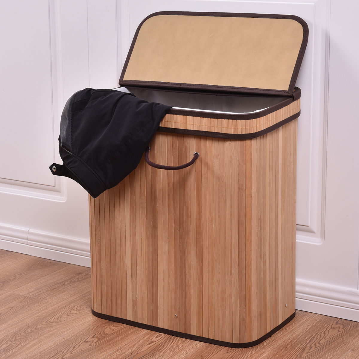 Costway Large Rect Bamboo Hamper Laundry Basket Washing Cloth Storage Bin Bag Lid Nature