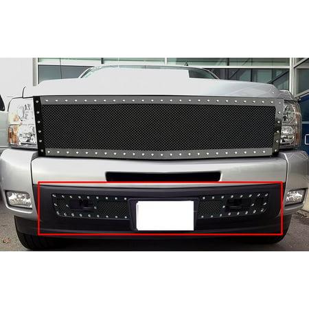 2007-2013 Chevy Silverado 1500 Stainless Steel Black Lower Bumper Wire Mesh Rivet Grille