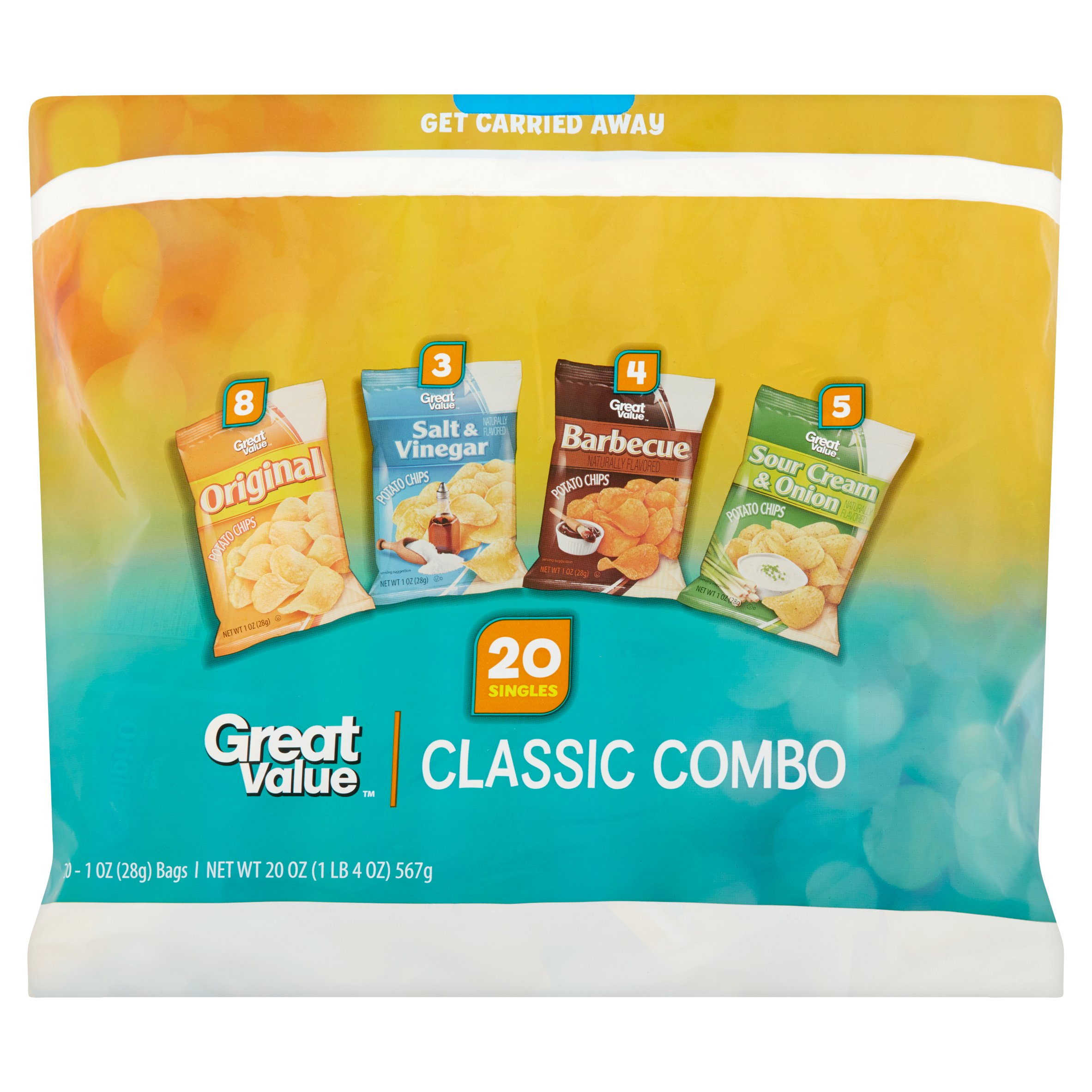 Great Value Potato Chips Variety Pack Snack Bags, 1 oz, 20 count by Wal-Mart Stores, Inc.