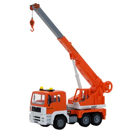 Friction Powered Construction Crane Truck Toy, With Lights And Sounds 4 Different Sound Buttons For Kids, Rotating Crane Arm Can Expand Up To 18 Inches, Great Car Toys Gift Giveaways For Boys & Girls