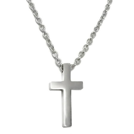 Leather Religious Cross (Mens Simple Stainless Steel Religious Cross Pendant Necklace 3mm Chain (20 Inch) )
