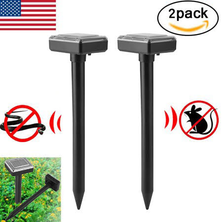 2PCS Outdoor Yard Garden Solar Powered Ultrasonic Sonic Wave Mouse Mosquito Mole Pest Rodent Control Repellers Repellents