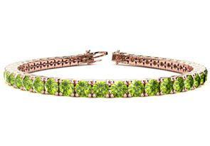 6.5 Inch 8 1 2 Carat Peridot Tennis Bracelet In 14K Rose Gold by