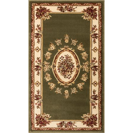 Well Woven Pastoral Medallion Green French 2x4 (2'3
