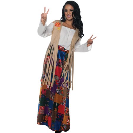 Adult Womens Hippie Fringed Vest With Patches Halloween Costume - Pearl River Patch Halloween