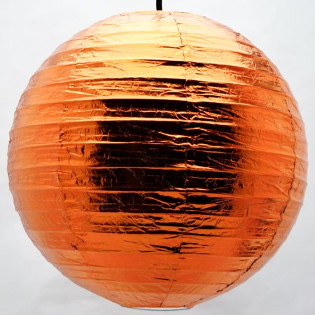 "Quasimoon 12"" Copper Metallic Foil Paper Lantern, Even Ribbing, Hanging by PaperLanternStore"