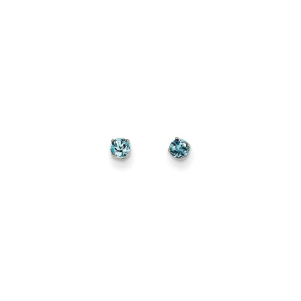 14k White Gold 3mm Aquamarine Stud Earrings