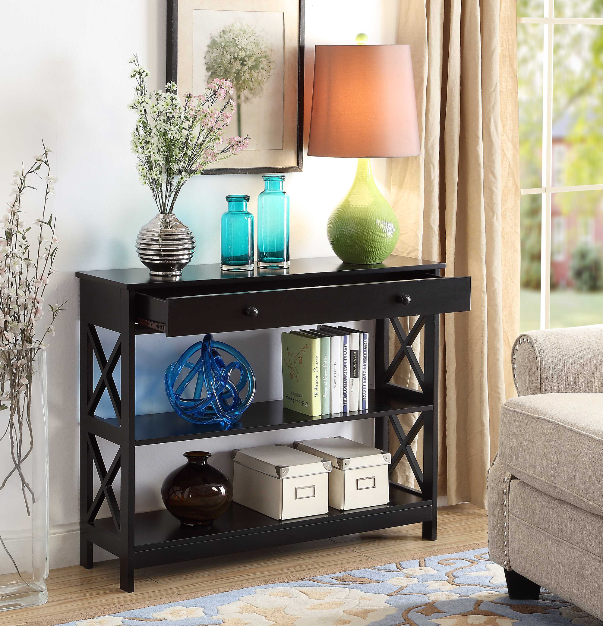Convenience Concepts Oxford 1-Drawer Console Table, Multiple Finishes