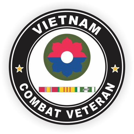 3.8 Inch 9th Infantry Division Vietnam Combat Veteran with Ribbons Decal (9th Infantry Division)