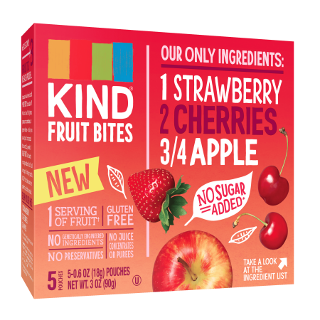 KIND Fruit Bites, Strawberry Cherry Apple Fruit Bites, 5 Count, Gluten Free, No Sugar Added Fruit Snacks - Apple Teeth Halloween Snack