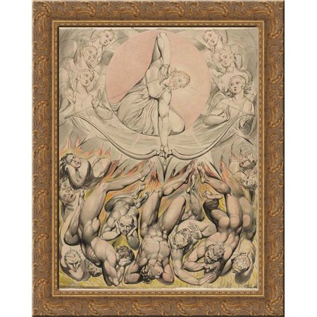 The Casting of the Rebel Angels into Hell 20x24 Gold Ornate Wood Framed Canvas Art by Blake, William