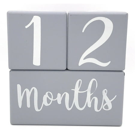 Months in Motion Baby Milestone Wooden Age Blocks Infant Photo Prop Pictures | Weeks Months Years Grade | Pregnancy Countdown Sharing | Shower Registry Gift | Gray Grey White (Best Baby Shower Registry)