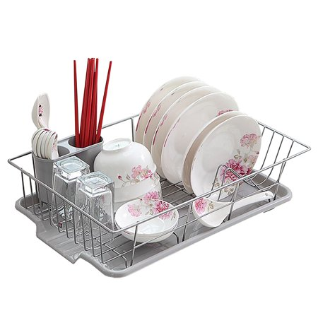 Basicwise Stainless Steel Dish Rack with Plastic Drain Board