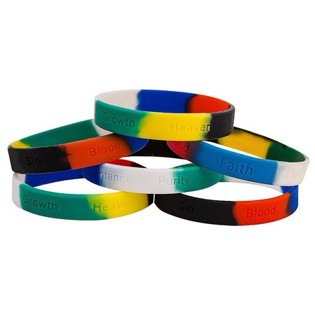 Colors of Salvation Silicone Christian Bracelets With Wording (Pkg of 12) - Silicone Bracelets Bulk