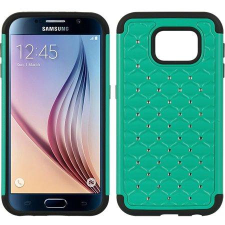 Samsung Galaxy S6 Hybrid Studded Diamond Case Black Skin
