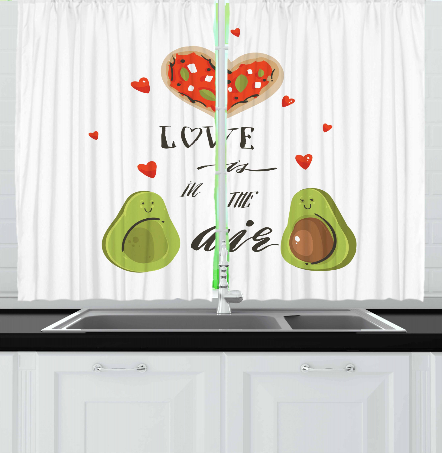 Avocado Curtains 2 Panels Set Valentines Day Themed Cartoon Avocado Couple In Love With Graphic Heart Shapes Window Drapes For Living Room Bedroom 55w X 39l Inches Multicolor By Ambesonne Walmart Com