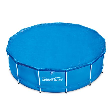 Summer Waves 10'-15' Adjustable Round Solar Above Ground Pool Cover (Pool Cover Water Bags)