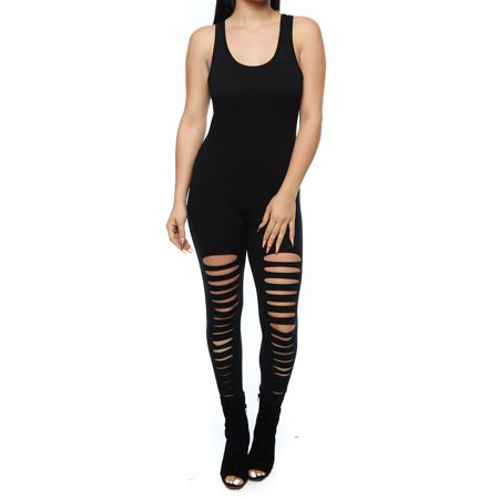 Mesh Catsuits (Womens Ladies Junior Sexy Tight American Slashed Strapped Catsuit)