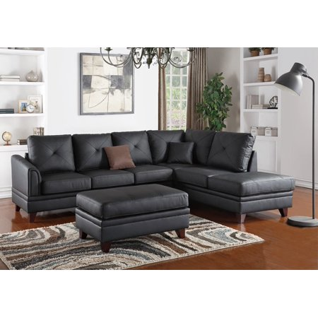 1perfectchoice l shaped sectional sofa chaise ottoman set tufted black top grain leather match. Black Bedroom Furniture Sets. Home Design Ideas