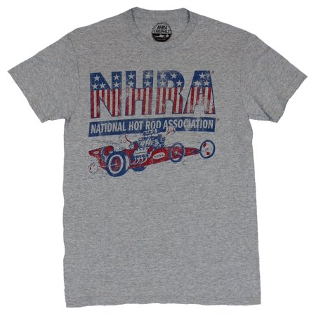 NHRA Mes T-Shirt  - National Hot Rod Association Distressed Dragster Image (Nhra Clothing)