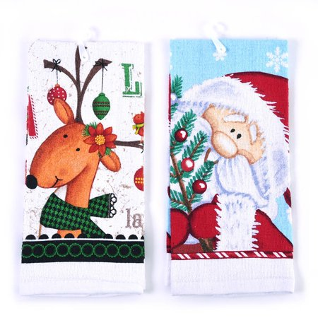 Cartoon Christmas Printed Kitchen Towel by Holiday Essentials (Essentials Kitchen Towel)