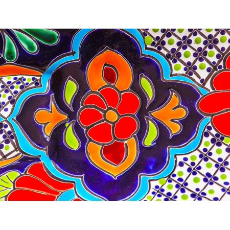Colorful Souvenir Ceramic Red Blue Flowers Pot Decoration Dolores Hidalgo Mexico Print Wall Art By William Perry - Mexico Decoration