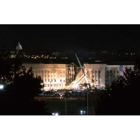The Huge 20 X 38 Feet American Flag Is To The Right Of The Damaged Area Of The Pentagon On The Night Of Sept 12 2001 The Previous Day Al Qaeda Terrorists Crashed Hijacked American Airlines Flight 77 J