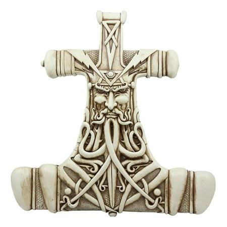 Thor Hammer Wall Decor Viking God Thor Bone Mjolnir Wall Plaque Thunder God  Figurine Collectible