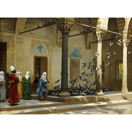 Harem Women Feeding Pigeons In a Courtyard Poster Print by Jean Leon Gerome