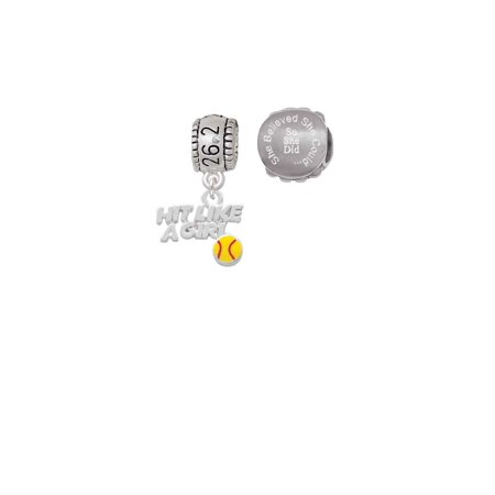 Hit Like a Girl with Enamel Softball 26.2 Marathon Run She Believed She Could Charm Beads (Set of 2)