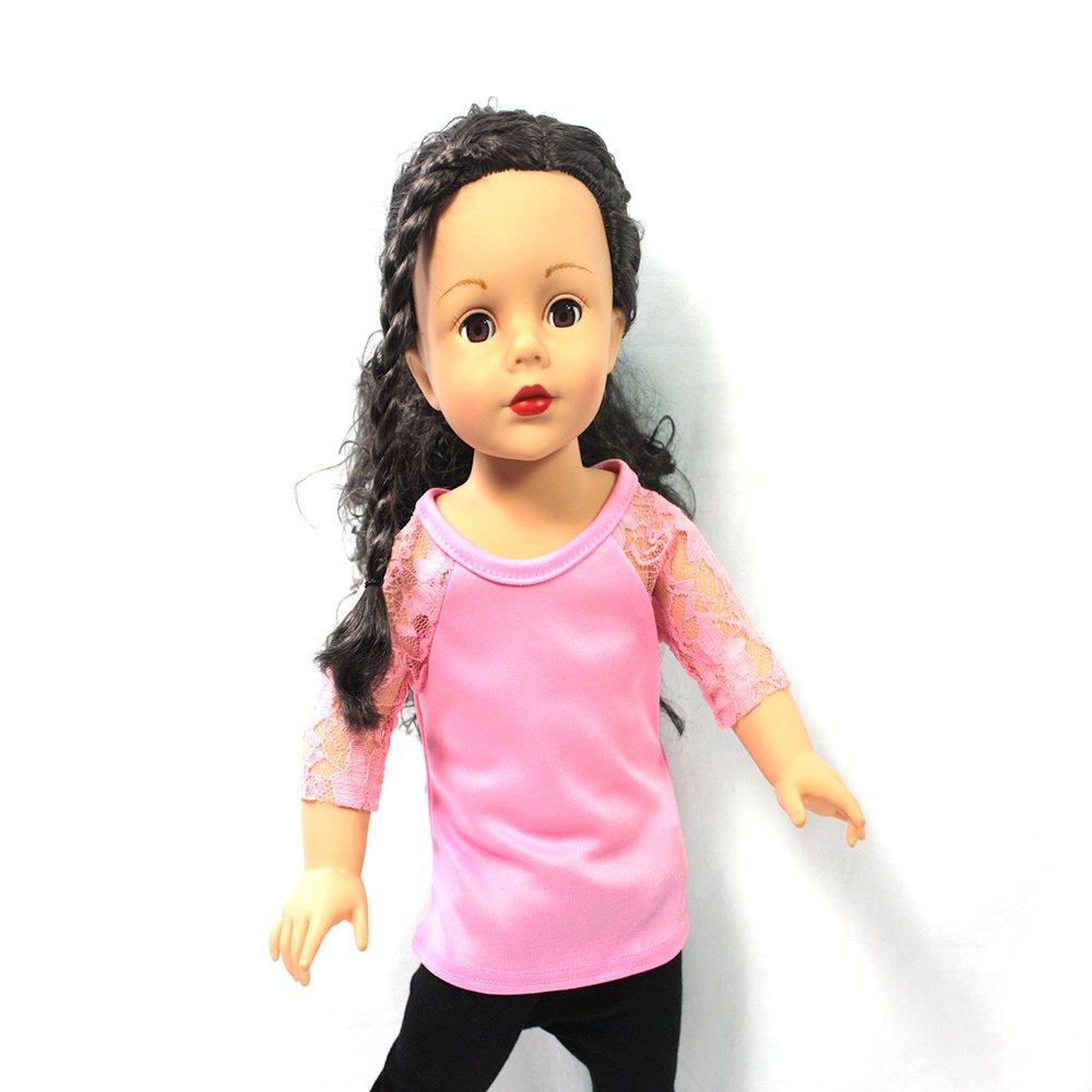 Arianna Pink Raglan Lace Top Fits 18 inch dolls