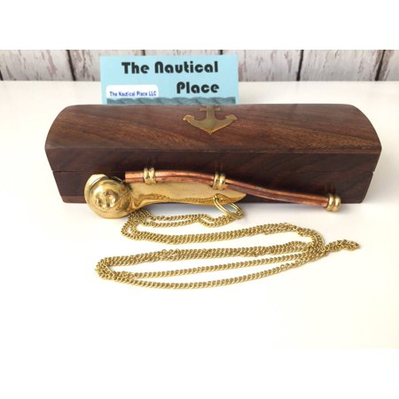 - Brass / Copper Boatswain Whistle w Chain & Box - Bosun Call Pipe - Navy Captain - Old Vintage Style - Nautical Maritime