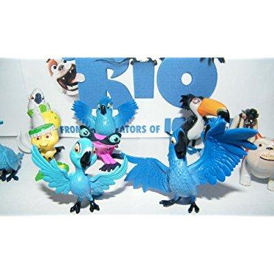 Character Stones (rio movie mini toy figure playset of 12 with blu, jewel, the 3 kids, luiz, nigel and new characters gabi, charlie and)