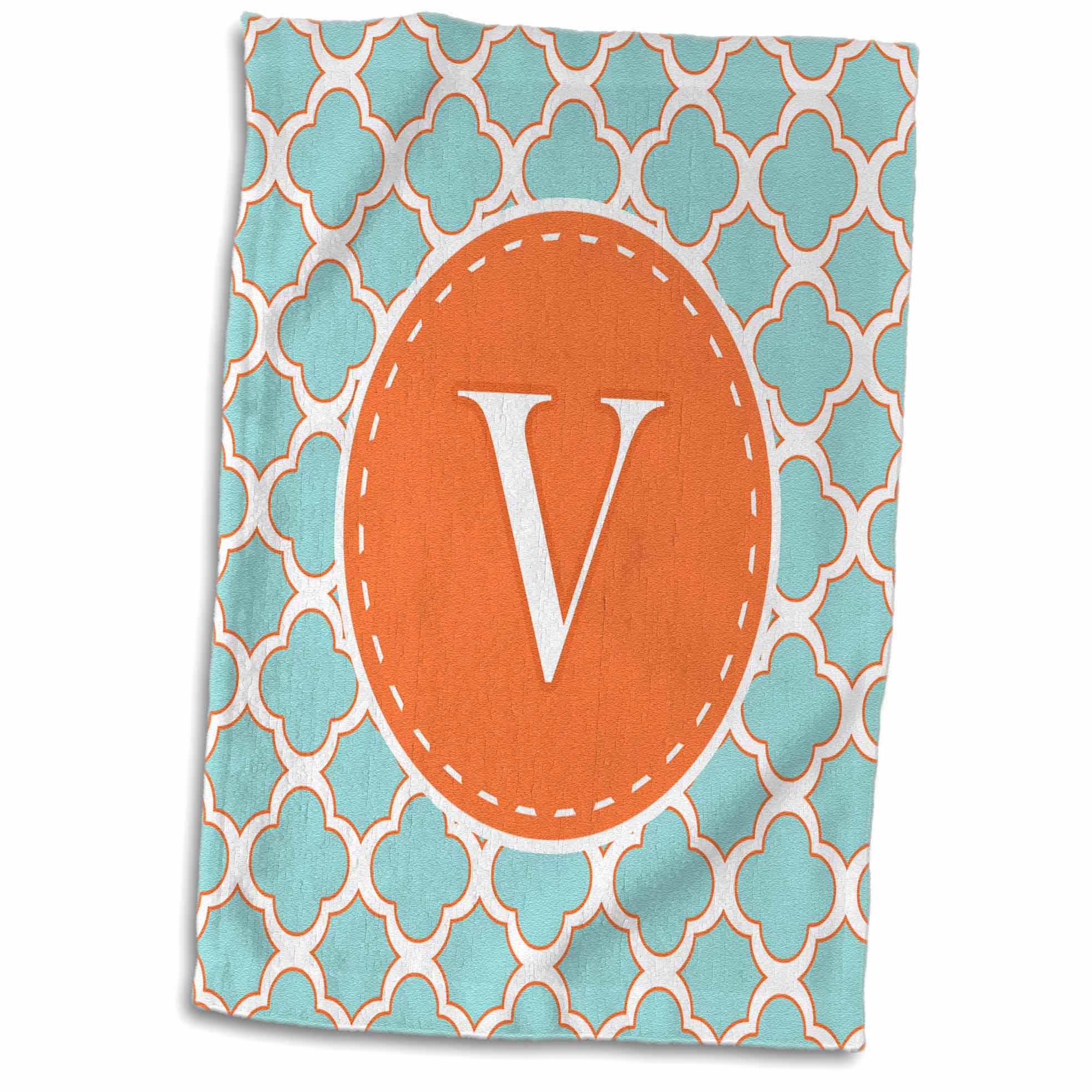 3dRose Letter V Monogram Orange and Blue Quatrefoil Pattern - Towel, 15 by 22-inch