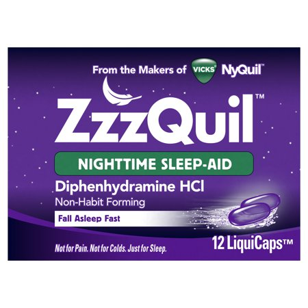 Vicks ZzzQuil Nighttime Sleep Aid, Non-Habit Forming, Fall Asleep Fast and Wake Refreshed, 12 Count