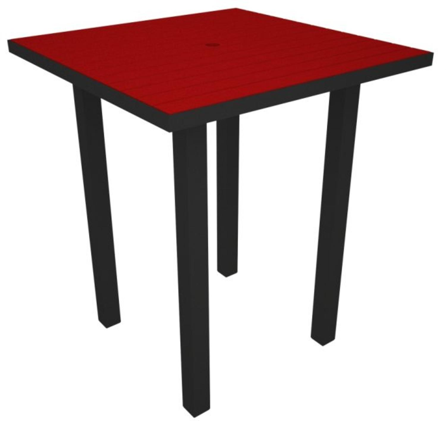 "36"" Recycled Earth-Friendly Square Bar Table - Sunset Red with Black Frame"