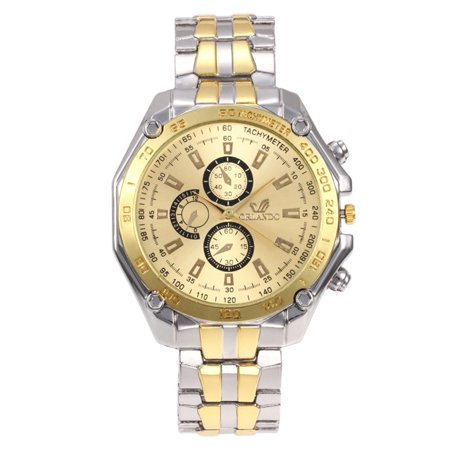 Men Fashionable Quartz Alloy Watch Stainless Steel Strap Business Sports Wristwatch Gold-gold
