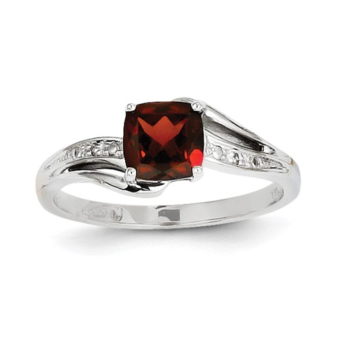 14k White Gold Diamond and Garnet Cushion Gemstone Ring. Gem Wt- 0.7ct by Jewelrypot