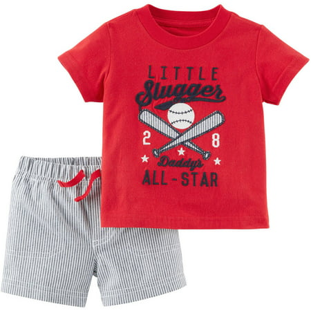 76fd1d93 Child of Mine by Carter's Newborn Baby Boy Graphic Tee and Shorts