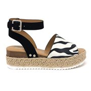 Soda Topic Zebra Espadrille Wedge Flatform Ankle Strap Studded Sandals