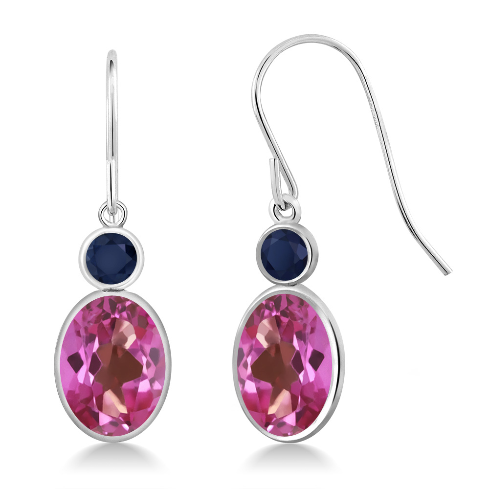 3.26 Ct Oval Pink Mystic Topaz Blue Sapphire 14K White Gold Earrings by